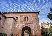 Alhambra Tower Moon From Walking Street Albaicin Granada Andalusia Spain