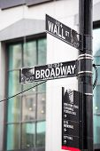 picture of broadway  - Wall street and broadway sign in New York - JPG