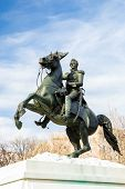 A statue by Clark Mills, in Layfayette Square, Washington, DC, of President Andrew Jackson riding hi