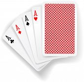 Four aces in five card poker hand playing cards with back design