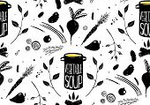 Seamless Pattern Vegetable Soup in Black