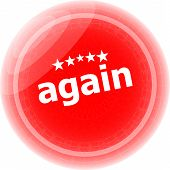 Again Word On Red Stickers Button, Label