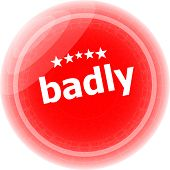 Badly Word On Red Stickers Button, Label