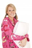 Woman Pink Pajamas Pillow Smile