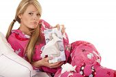 Woman Pink Pajamas Tissue Hold Box