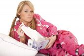 Woman Pink Pajamas Tissue Pull Frown
