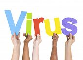 Diverse Hands Holding The Word Virus