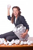 Woman with lots of discarded paper