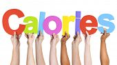 Diverse Hands Holding The Word Calories