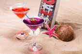 Fresh tropical cocktail on the beach - molecular mixology
