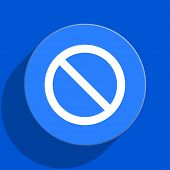 access denied blue web flat icon