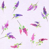 Watercolor seamless lilac pattern