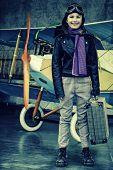Flying, aviator, plane, travel - girl ready for travel around the world