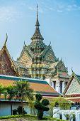 decorated chedi rooftop Wat Pho temple Bangkok Thailand