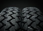 Comparing of classical motorcycle tires treads in different weather condition