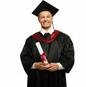 Cheerful young graduated student man isolated on white