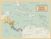 Central America -highly detailed map.All elements are separated in editable layers clearly labeled.