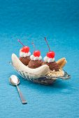 picture of banana split  - Banana Split Ice Cream isolated over color background - JPG