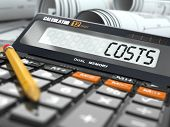 stock photo of calculator  - Concept of costs calculation - JPG