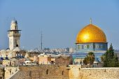 JERUSALEM, ISRAEL - MARCH 20, 2014: Dome of the Rock and Chain Minaret over the Old City. Dome of th