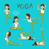 Постер, плакат: Vector hand drawn yoga poses