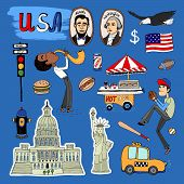 Vector hand-drawn USA Landmarks set