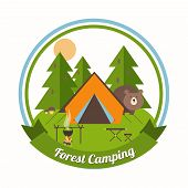 pic of tent  - Forest Camping circular emblem with a curious bear peering around a tent in a pine forest with green trees with a campfire  table and chair and a ribbon banner with the text  - JPG
