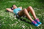 Relaxed Female Runner Resting And Relaxing