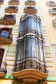 Balconies In Old House In Barcelona, Spain