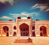 Vintage retro effect filtered hipster style travel image of Humayun's Tomb complex, Delhi, India