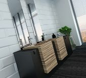 Picture of modern bathroom interior with wooden furniture