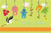 Newborn Baby Clothes Hanging On The Rope.baby Fashion Set