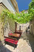pergola on a street Kotor Old Town, Montenegro