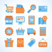 Flat Vector Icon Set Of Shopping Symbols