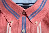 image of button down shirt  - Red man shirt button down collar with blue and white stripes - JPG