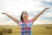 Joyful Female Farmer Success