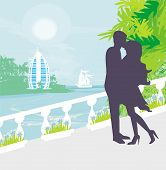 Couple Kissing, Tropical Vacation