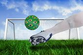 Composite image of close up of football player kicking brasil ball against goalpost on grass under blue sky