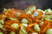 Budapest, Hungary, Fair. The mixture was stir-fried vegetables on a baking sheet in an outdoor cafe