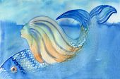 Mermaid And Fish Diving Down Abstract Watercolor Painting.