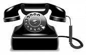 pic of outdated  - Realistic outdated black telephone isolated on white background - JPG