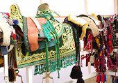 Closeup of green saddle