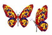 Red Blue Yellow Paint Made Butterfly Set