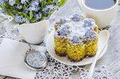 stock photo of eat me  - Polenta cake with cup of Coffee - JPG