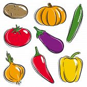 Set Of Vegetable, Potato, Pumpkin, Cucumber, Vector