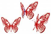 Red, Blue And White Painted Butterfly Set