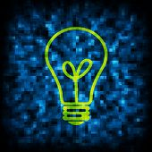 Binary code and light bulb icon