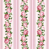 Vintage seamless stripped pattern with pink roses. Vector illustration.