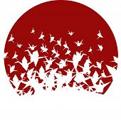 Japanese Round Paper Crane Background