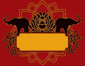 picture of indian elephant  - Indian elephant and lotus banner with space for text - JPG